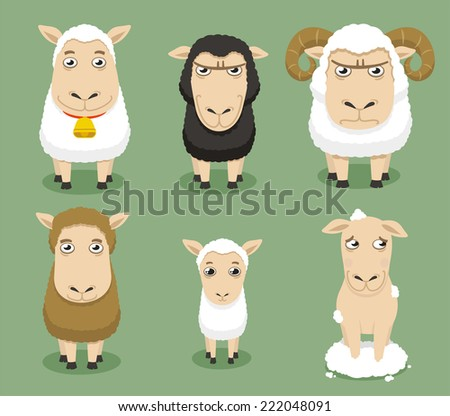 Sheep set collection, with different shapes and sizes ships, with white sheep, black sheep, sheep with horns, brown sheep, baby sheep, shaved sheep vector illustration. - stock vector