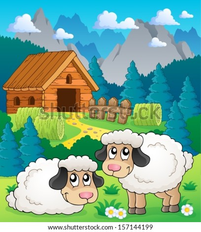 Sheep theme image 2 - eps10 vector illustration. - stock vector