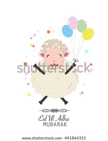 Sheep vector illustration. Colorful balloon. Islamic Festival of Sacrifice, Eid-Al-Adha celebration greeting card - stock vector