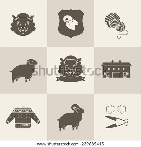 sheep vector set - stock vector