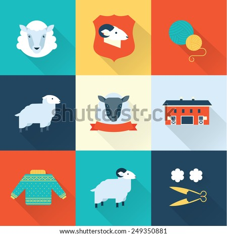 sheep vector set - stock vector