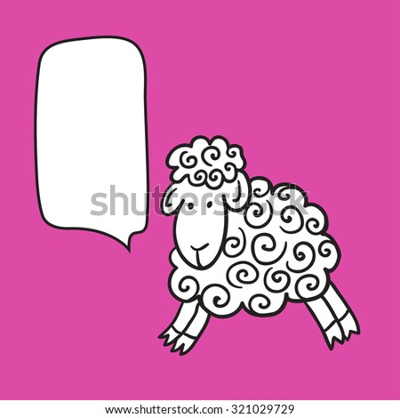 Sheep With Speech Bubble. Illustration card with hand drawn lamb and bubble speech. Beautiful vector design. - stock vector