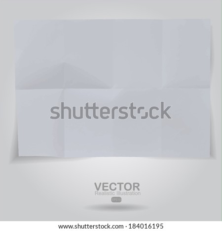 sheet crumpled paper background  - stock vector