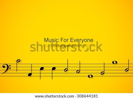 Sheet music easy all editable - stock vector