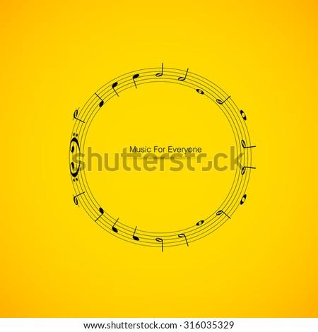 Sheet music easy editable - stock vector
