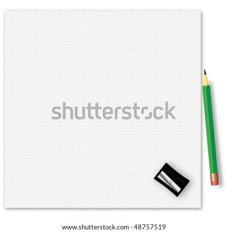 Sheet of a paper with a pencil and a sharpener - vector illustration