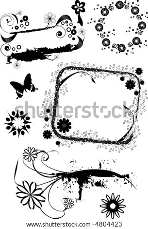 Sheet of grunge vector elements, frames, borders, and backgrounds. - stock vector