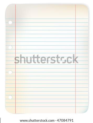 Sheet of old grunge lined (originally white) paper (vector illustration) - stock vector