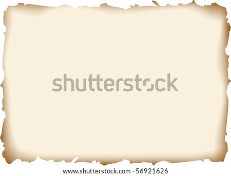 sheet of old paper with burnt edges - stock vector
