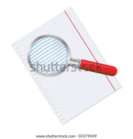 Sheet of paper and magnifier - stock vector