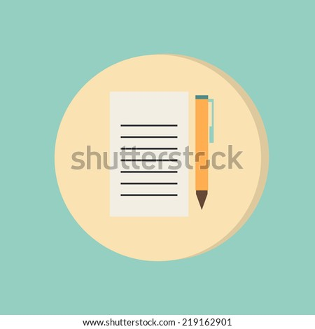 sheet of paper and pen - stock vector
