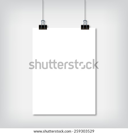 Sheet of paper hanging on the wall with shadow vector illustration - stock vector