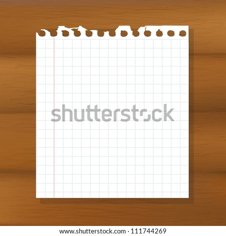 Sheet Of Paper On Wooden Background, Vector Illustration - stock vector