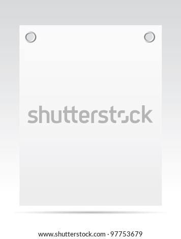 Sheet of paper with a gray background. Vector