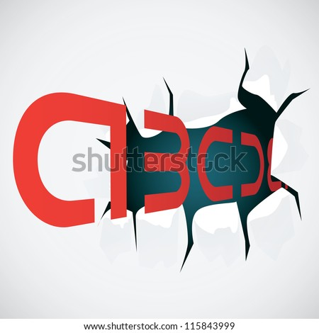 Sheet of paper with a hole and letters - illustration - stock vector