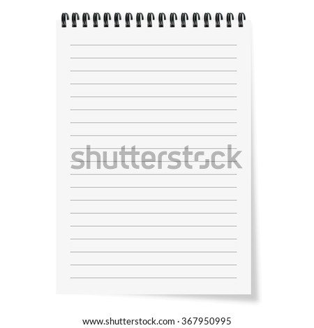 Sheet of paper with spiral and  shadows - stock vector