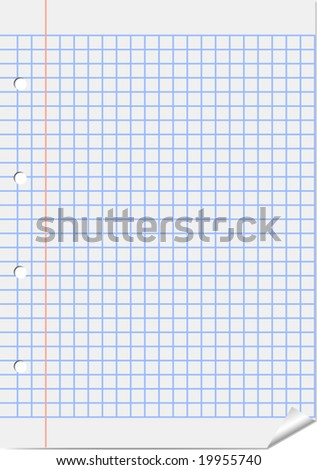Sheet of squared with red margin - stock vector