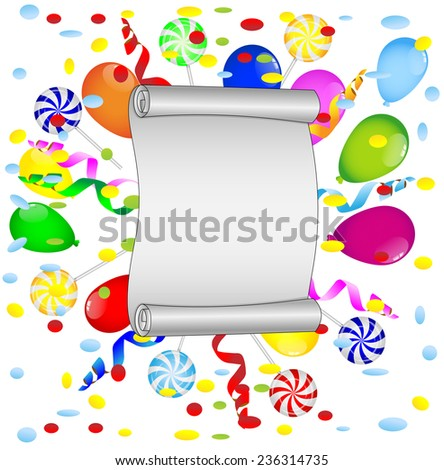 sheet of the twisted up paper with bright air marbles and lollipops,  vector  illustration