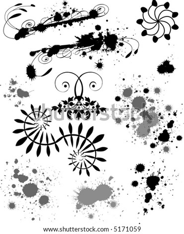Sheet of vector paint splotches and grunge elements. - stock vector
