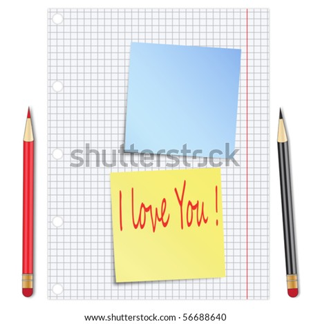 Sheet of white paper with pencils and blue sticky notes - stock vector