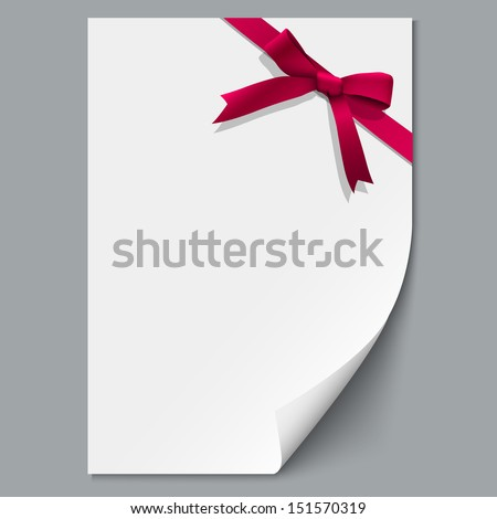 Sheet paper and red ribbon with gift bow. Vector illustration - stock vector