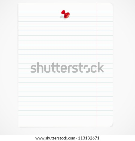 Sheet pinned the button. Abstract vector background with space for your text.