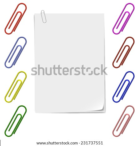 Sheets of stapled paper clips, staples set of different colors. - stock vector
