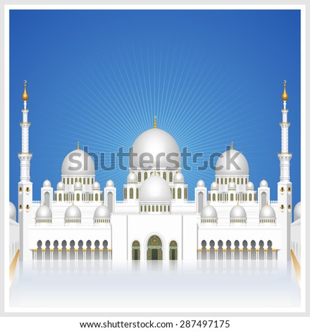 Sheikh Zayed Grand Mosque at Day time, Detailed vector illustration