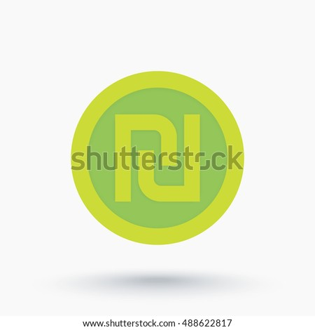 Shekel Israeli Money Symbol Coin Icon Stock Vector 488622817