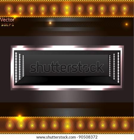 shelf on grey wall - stock vector
