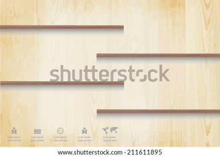shelf on wood background and business icon, eps 10 vector. - stock vector