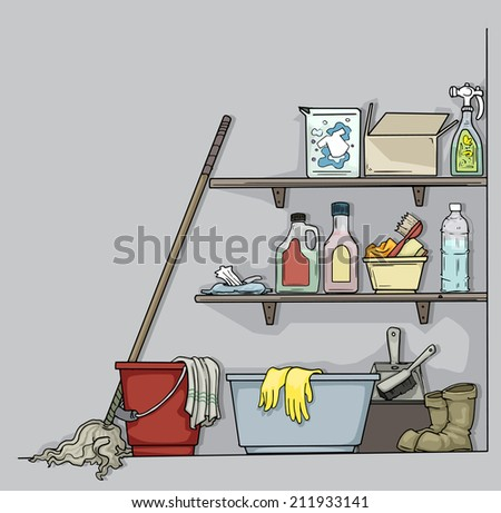Shelf piled with cleaning equipment, bottles, sprays, and mop, vector illustration - stock vector