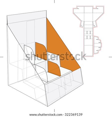 Shelf Stand Box with Counter Display and Die Line Template - stock vector