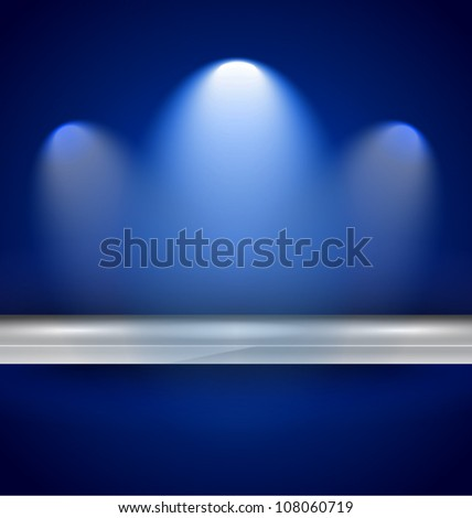 Shelf with spotlights to use for products advertisement and featured placements. - stock vector