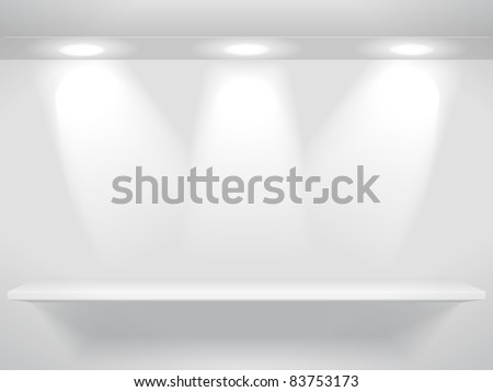Shelf with three light sources on the wall - stock vector