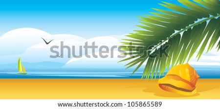 Shell and palm branch on the background of landscape. Vector