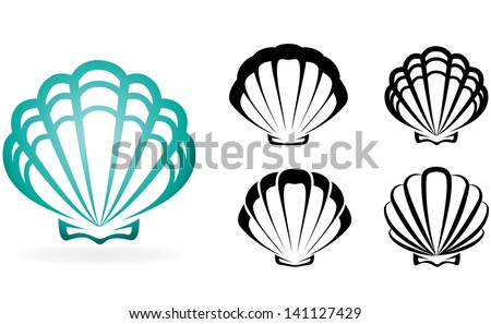 Shell collection - vector silhouette illustration - stock vector
