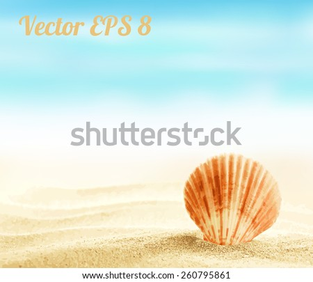 Shell on sandy beach vector illustration EPS 8. - stock vector