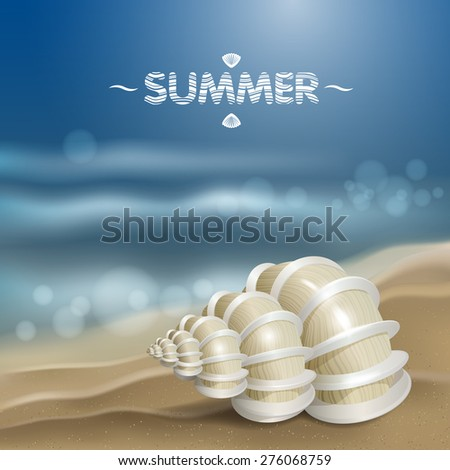 Shell on the waves. - stock vector
