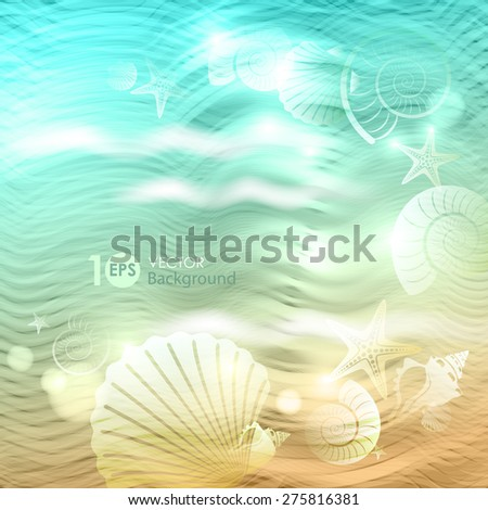 Shell on the waves. Vector eps 10.  - stock vector