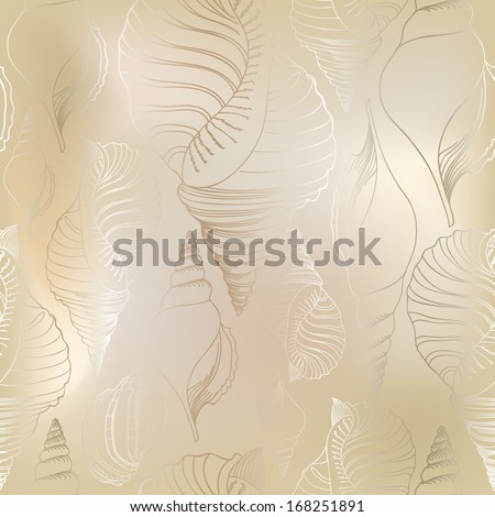 Shell seamless pattern. Sea shells vector background   - stock vector