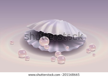 Shell with pink pearls on a gentle background - stock vector