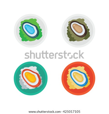 shellfish and salad vector - stock vector