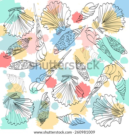 Shells collection. Vector  Background
