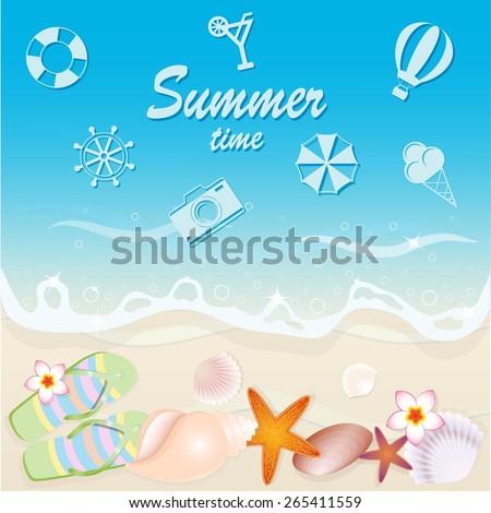 Shells on the beach. Vector illustration. - stock vector