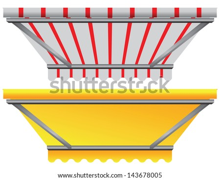 Shelter from the sun over the showcase. Vector illustration. - stock vector