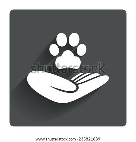 Shelter pets sign icon. Hand holds paw symbol. Animal protection. Gray flat square button with shadow. Modern UI website navigation. Vector - stock vector