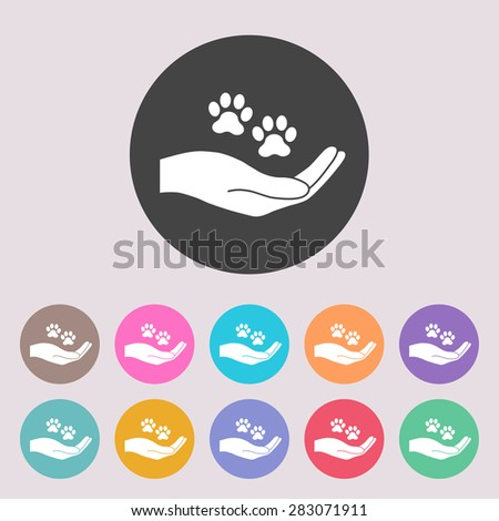 Shelter pets sign icon. Hand holds paw symbol. Animal protection. Set of colored icons. - stock vector