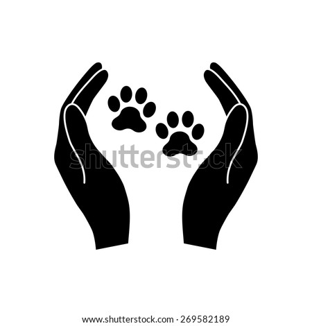 Shelter pets sign icon. Hands holds paw symbol. Animal protection.  - stock vector