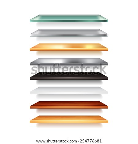 Shelves from different materials isolated on white photo-realistic vector illustration - stock vector